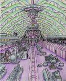 Fabrikwerkstatt der Zukunft phantasie Weltraumlabor stock abbildung