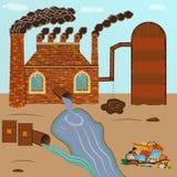 Fabrikziegelstein raucht Rohre, Verschmutzung gießt durch ein Rohr mit Stockbilder