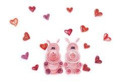 Fabriqué à la main de la technique quilling de papier Jour du `s de Valentine Escroquerie d'amour Photographie stock