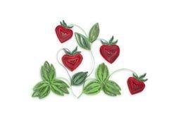 Fabriqué à la main de la technique quilling de papier Jour du `s de Valentine Escroquerie d'amour Photos libres de droits