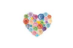 Fabriqué à la main de la technique quilling de papier Jour du `s de Valentine Escroquerie d'amour Images libres de droits