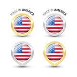 Fabriqué en Amérique Etats-Unis - autour des labels avec des drapeaux illustration libre de droits