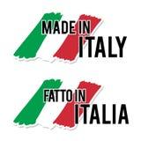 Fabriqué en Italie avec le label italien de qualité de drapeau sur le fond blanc Images stock