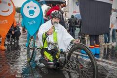 Fabrizio Caselli, il vincitore del handbike della corsa, presto dopo la h Fotografia Stock Libera da Diritti