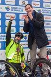 Fabrizio Caselli, vincitore del handbike della corsa, durante la a Immagine Stock Libera da Diritti