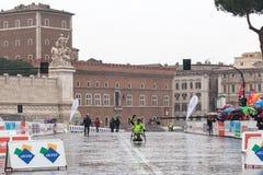 Fabrizio Caselli, the winner of the race handbike when they arri Royalty Free Stock Photos