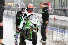 Fabrizio Lai #32 on Kawasaki ZX-10R Kawasaki Racing Team Superbike WSBK royalty free stock image