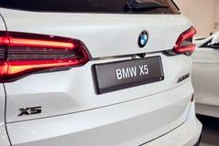 08 of Fabruary, 2018 - Vinnitsa, Ukraine. New BMW X5 car presentation in showroom - back view royalty free stock image