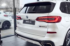 08 of Fabruary, 2018 - Vinnitsa, Ukraine. New BMW X5 car presentation in showroom - back view royalty free stock photo