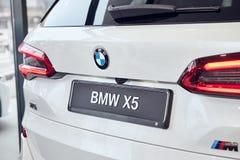 08 of Fabruary, 2018 - Vinnitsa, Ukraine. New BMW X5 car presentation in showroom - back view royalty free stock photos