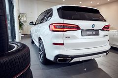 08 of Fabruary, 2018 - Vinnitsa, Ukraine. New BMW X5 car presentation in showroom - back view stock image