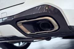 08 of Fabruary, 2018 - Vinnitsa, Ukraine. New BMW X5 car presentation in showroom - exhaust pipe stock photo