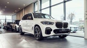 08 of Fabruary, 2018 - Vinnitsa, Ukraine. New BMW X5 car presentation in showroom - front side stock photo