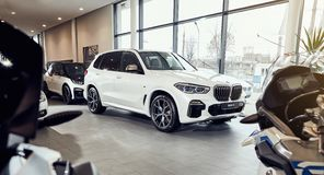 08 of Fabruary, 2018 - Vinnitsa, Ukraine. New BMW X5 car presentation in showroom - front side royalty free stock image