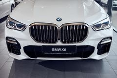 08 of Fabruary, 2018 - Vinnitsa, Ukraine. New BMW X5 car presentation in showroom - front side royalty free stock photos