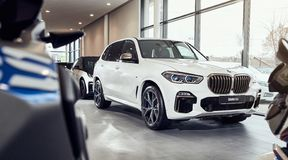 08 of Fabruary, 2018 - Vinnitsa, Ukraine. New BMW X5 car presentation in showroom - front side royalty free stock images