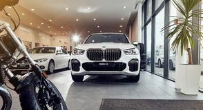 08 of Fabruary, 2018 - Vinnitsa, Ukraine. New BMW X5 car presentation in showroom - front side royalty free stock photography