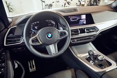 08 of Fabruary, 2018 - Vinnitsa, Ukraine. New BMW X5 car presentation in showroom - interior inside the cabin stock photos