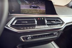08 of Fabruary, 2018 - Vinnitsa, Ukraine. New BMW X5 car presentation in showroom - interior inside the cabin stock images