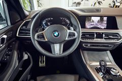 08 of Fabruary, 2018 - Vinnitsa, Ukraine. New BMW X5 car presentation in showroom - interior inside the cabin royalty free stock images