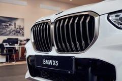 08 of Fabruary, 2018 - Vinnitsa, Ukraine. New BMW X5 car presentation in showroom - radiator screen royalty free stock photos