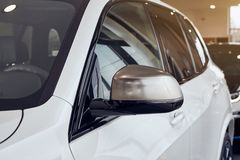 08 of Fabruary, 2018 - Vinnitsa, Ukraine. New BMW X5 car presentation in showroom - side mirror royalty free stock photo