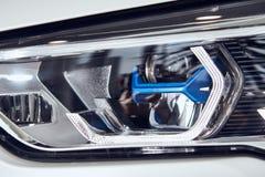 08 of Fabruary, 2018 - Vinnitsa, Ukraine. New BMW X5 car presentation in showroom - new technology laser headlight royalty free stock photo
