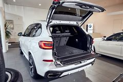 08 of Fabruary, 2018 - Vinnitsa, Ukraine. New BMW X5 car presentation in showroom - trunk royalty free stock photography