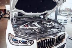 08 of Fabruary, 2018 - Vinnitsa, Ukraine. New BMW X5 car presentation in showroom - under the hood stock photos
