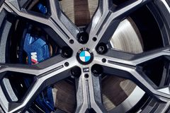 08 of Fabruary, 2018 - Vinnitsa, Ukraine. New BMW X5 car presentation in showroom - wheel royalty free stock photography
