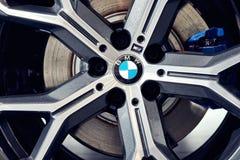 08 of Fabruary, 2018 - Vinnitsa, Ukraine. New BMW X5 car presentation in showroom - wheel stock photography