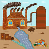 Fabryczna cegła dymi drymby, zanieczyszczenie nalewa przez drymby z ilustracja wektor