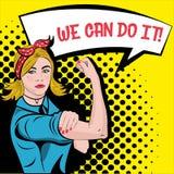 Fabryczna dziewczyna z bicepsa wystrzału sztuki komiczek halftone retro stylowym desi ilustracja wektor