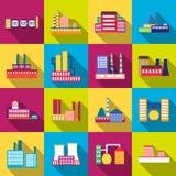 Fabryczni władzy elektryczności przemysłu manufactory budynki ustawiający wektorowe ikony w mieszkaniu Zdjęcia Stock