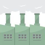 Fabryczny budynek Z Dymnymi stertami Zdjęcia Royalty Free