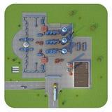 Fabryczny 3d rendering Odgórny widok Zdjęcia Stock