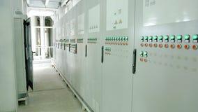 Fabryczny pulpit operatora z guzikami obraz stock