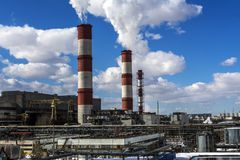 Fabryk drymby i fabryczny terytorium Obrazy Stock