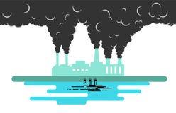 Fabryka Zanieczyszcza środowiska mieszkania styl royalty ilustracja