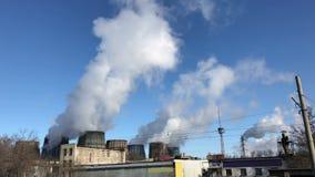 Fabryki i ekologia lotniczego tła błękitny fabryczny zanieczyszczenie zbiory