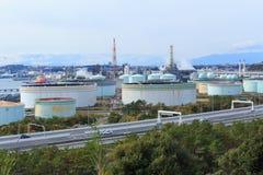 Fabryki w Keihin przemysłowym regionie w Yokohama, Kanagawa, Japonia Fotografia Stock