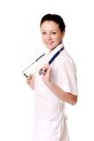 fabrykuje medycznej uśmiechniętej kobiety zdjęcie royalty free