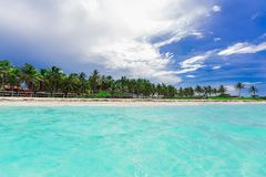 Fabulous amazing tropical palm beach and tranquil turquoise ocean against blue sky background Royalty Free Stock Photos