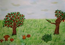 A fabulous backdrop magical forest. Live plant vector illustration