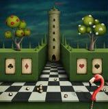 Fabulous background with flamingo royalty free illustration