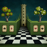 Fabulous background with tower vector illustration