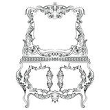 Fabulous Baroque Console Table and Mirror frame set. Vector French Luxury rich carved ornaments. Victorian wealthy Style Stock Images