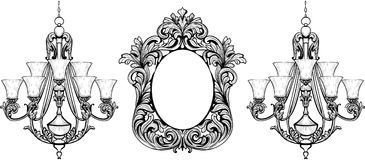 Fabulous Baroque Mirror and chandelier frame set. Vector French Luxury rich carved ornaments. Victorian wealthy Style furniture Stock Photo