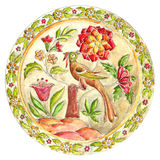Fabulous bird. Decorative plate in Gzhel style. Russian painted ornament Royalty Free Stock Image