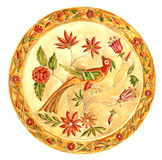 Fabulous bird. Decorative plate in Gzhel style. Russian painted ornament Royalty Free Stock Images